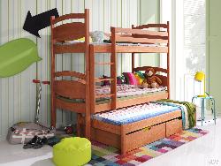 Bernu gulta 3 stavi. CEZARY trīsvietīgā bērnu gulta. Gultas trīsstāvu