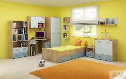 Mēbeles bērnistabā KITTY II. Zema bernu gulta. Jauniešu pusaudžu komplekti
