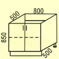 Размер столешницы для кухни Нижние шкафчики D-13
