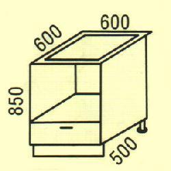 Нижние шкафчики Размер столешницы для кухни D-17