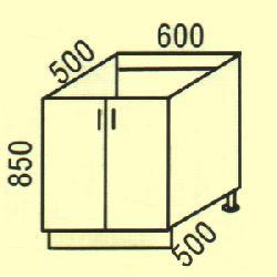 Нижние шкафчики Размер столешницы для кухни D-19