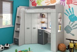 Antresola bed-cupboard with table L/P - Poland - MEBLOCROSS - Baby bed-wardrobe - Childrens room