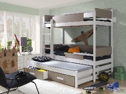 QUATRO 3a трехъярусная высокая кровать с барьером - Кровати трехъярусные - Детская комната
