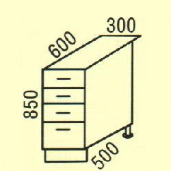 D-30 - Польша - PL - Типовые нижные шкафчики - Кухни модульные