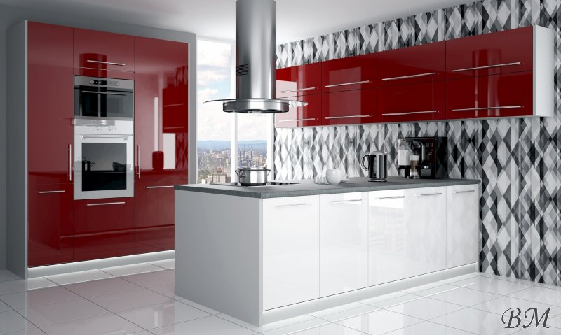Купить Мебель - Польша - модерн - модульная - PLATINIUM - 14 - кухня - Extom - Модульные кухни, индивидуальные - Слива модерн кухня
