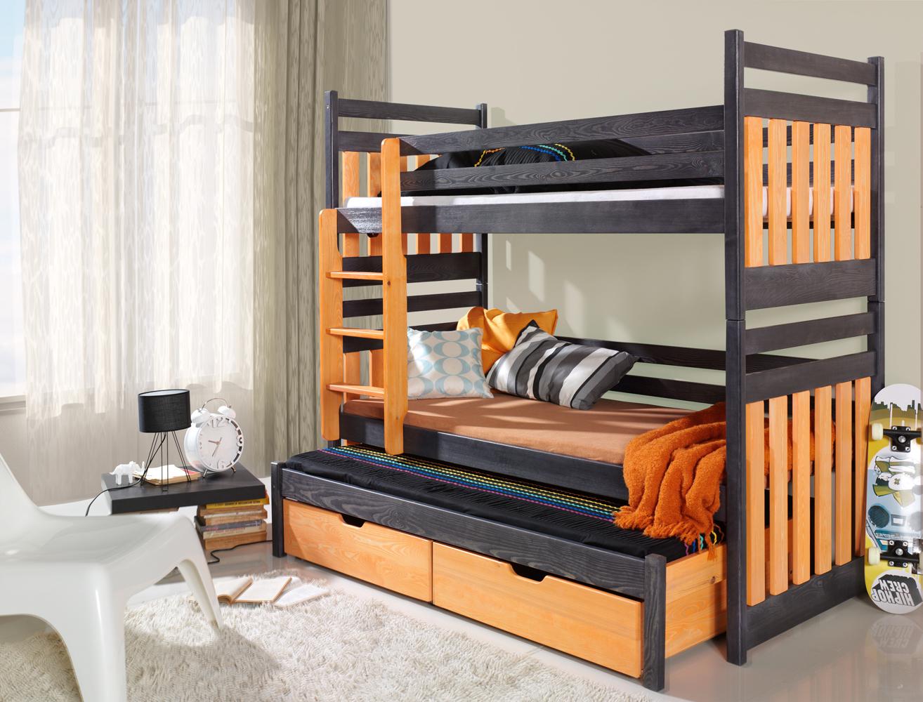 Купить Мебель - Кровати трехъярусные - Польша - кровать - 3 - трехъярусная - выдвижная - деревянная - MEBLObed - SAMBOR - Детская выдвижная двухъярусная кровать