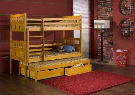 Купить Мебель - Кровати трехъярусные - трехъярусная - деревянная - MEBLObed - выдвижная - кровать - Maksymilian - Польша - Quatro трехъярусная высокая кровать с барьером
